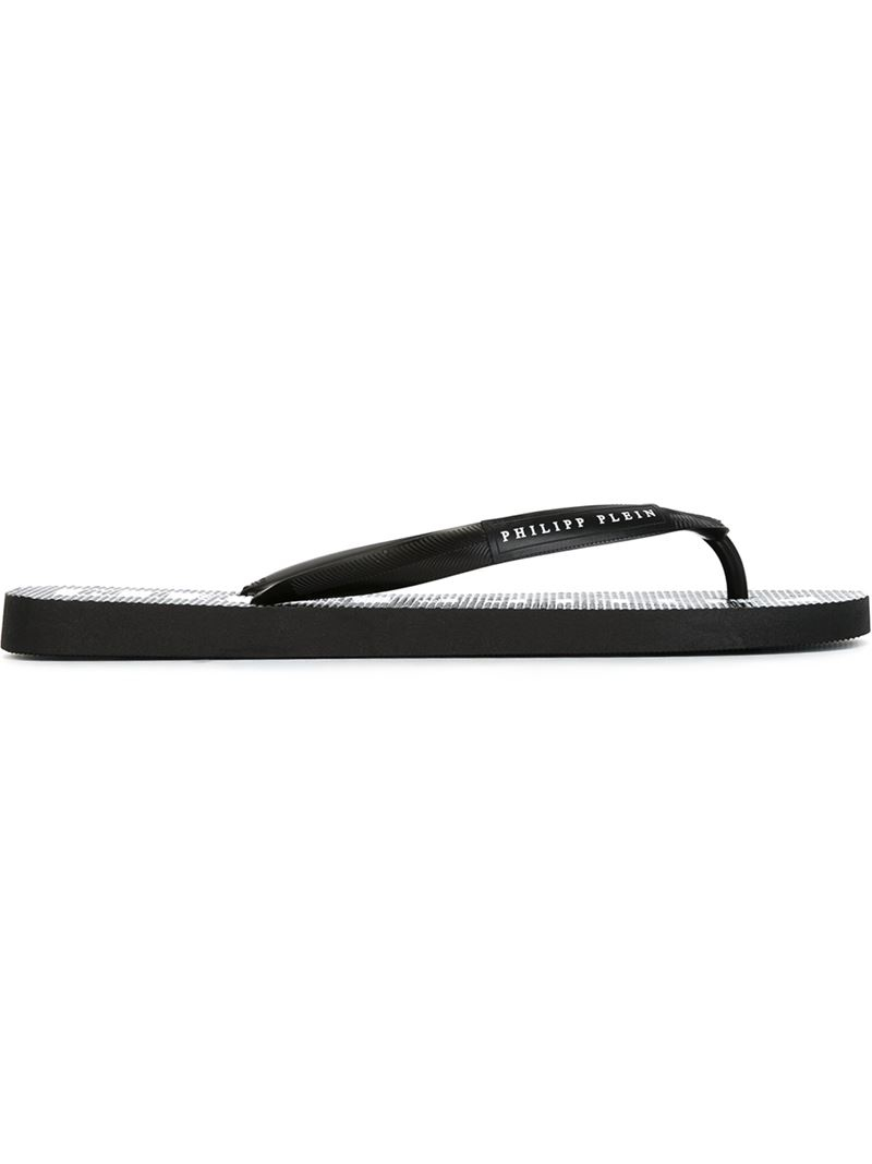 Philipp Plein Philipp Flip Flops In Black For Men Lyst