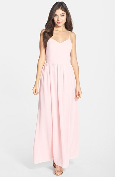 Adelyn Rae Chiffon Fit Amp Flare Maxi Dress In Light Pink