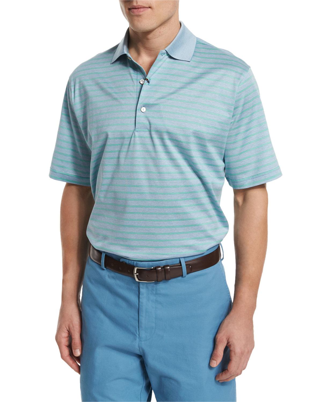Peter millar charlie striped short sleeve polo shirt in for Peter millar polo shirts