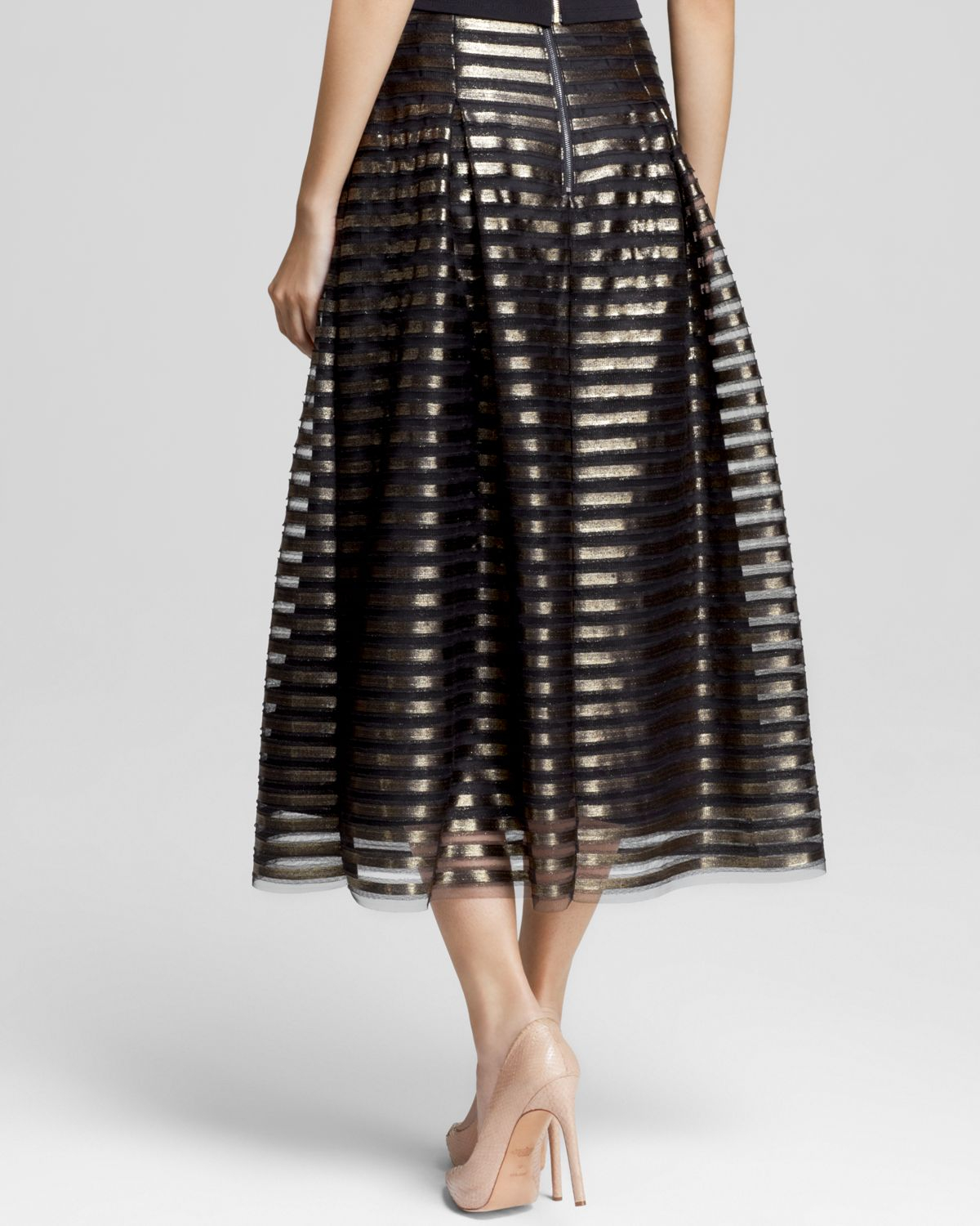 Abs by allen schwartz Striped Metallic Skirt in Black | Lyst