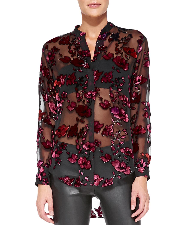 Alice + Olivia Burnt Out Velvet Long Sleeve Top Buy Cheap Shop For Supply Online AVo284ngB0