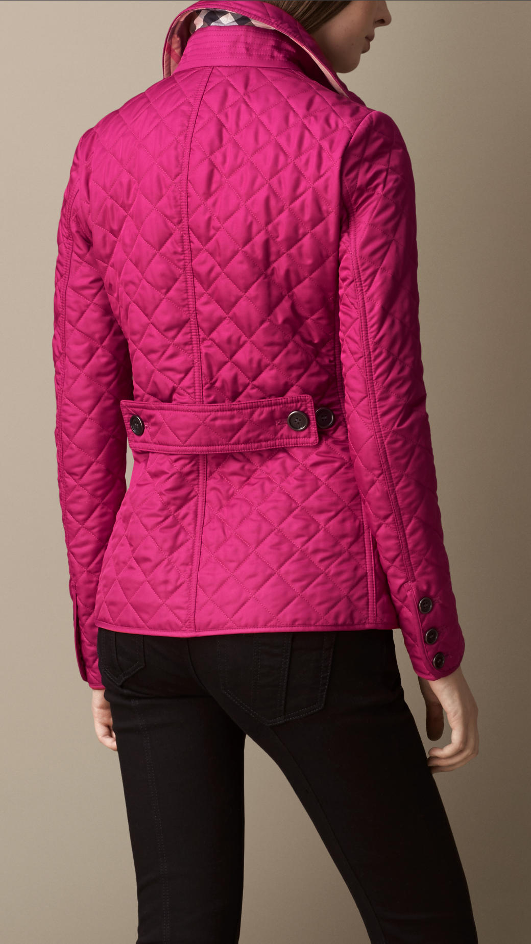 Burberry Diamond Quilted Jacket In Bright Magenta Pink