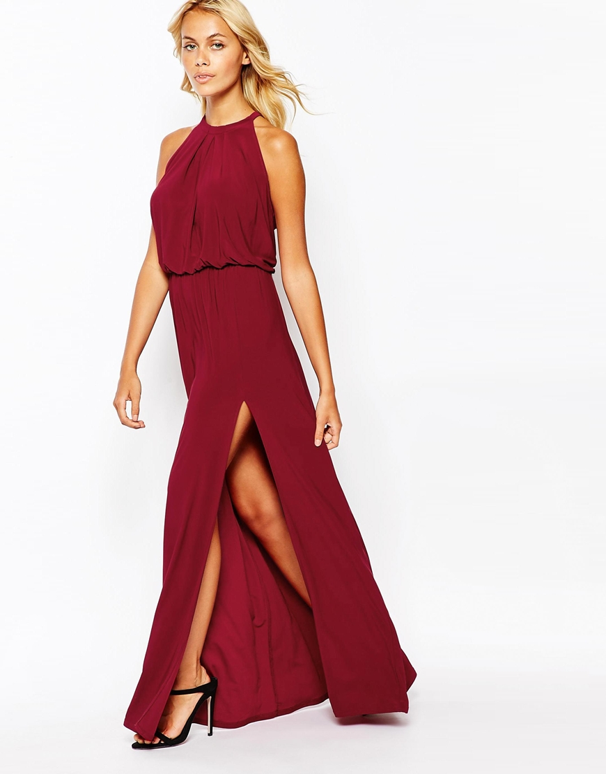 Love High Neck Maxi Dress With Cut Away Shoulder in Purple | Lyst