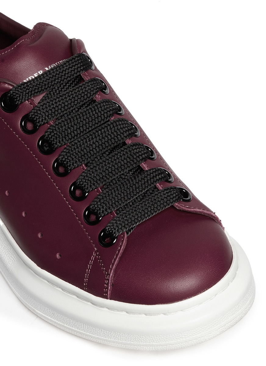 Alexander McQueen Chunky Outsole Leather Sneakers in Red