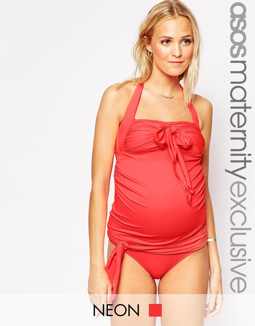 3ade7b4abaaf9 ASOS Maternity Swimwear Pant With Bow Front in Red - Lyst