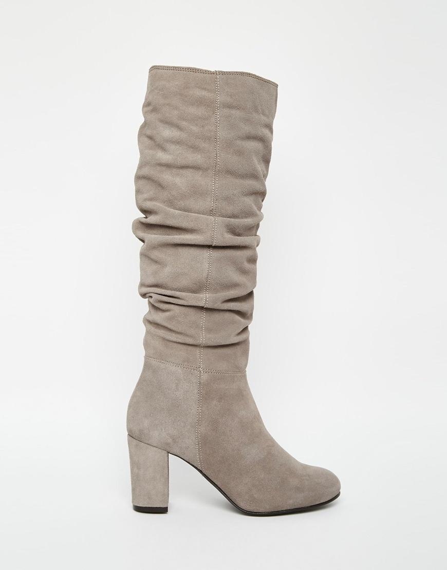 Oasis Slouch Block Heel Boots in Grey