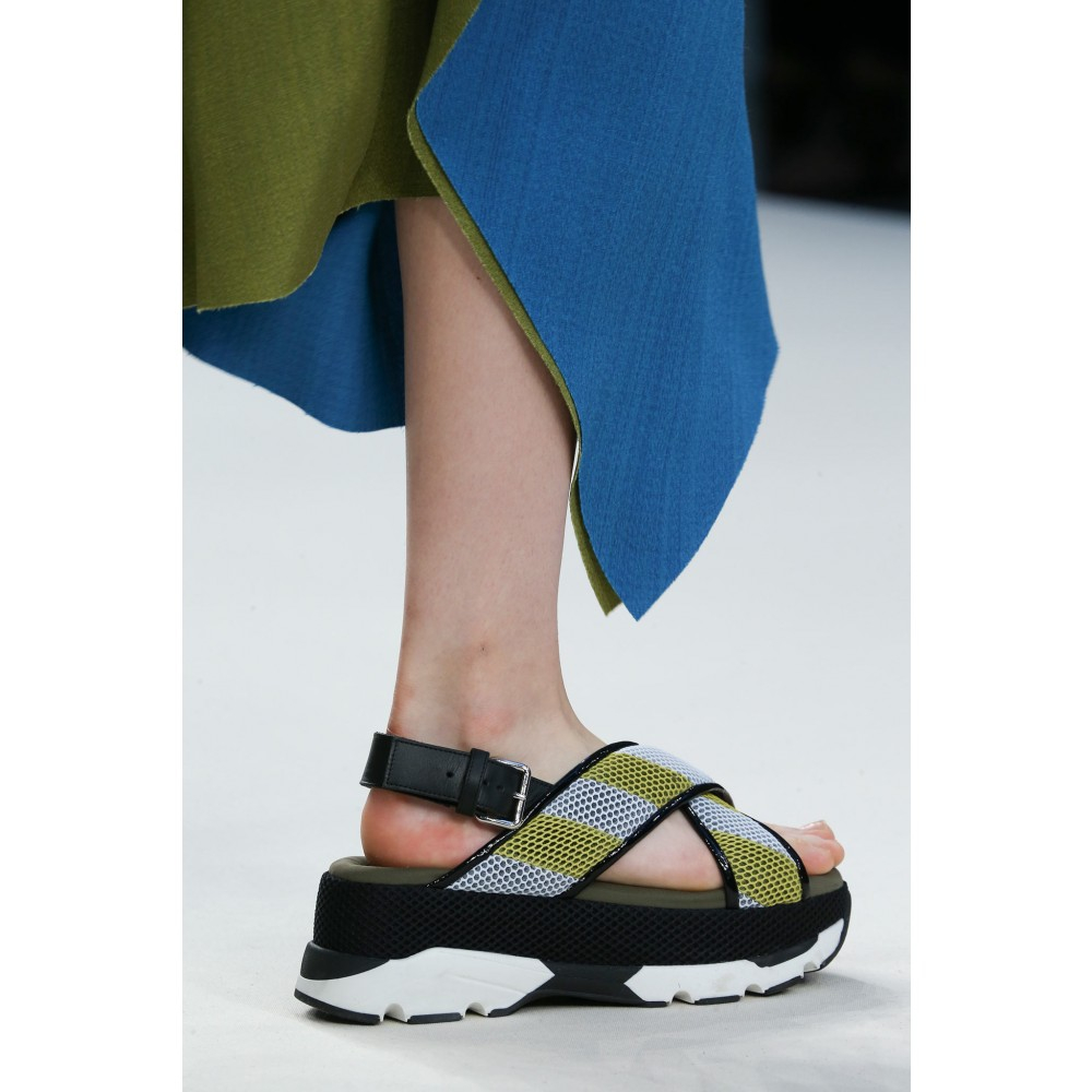 Lyst Marni Mesh Leather And Rubber Platform Sandals In