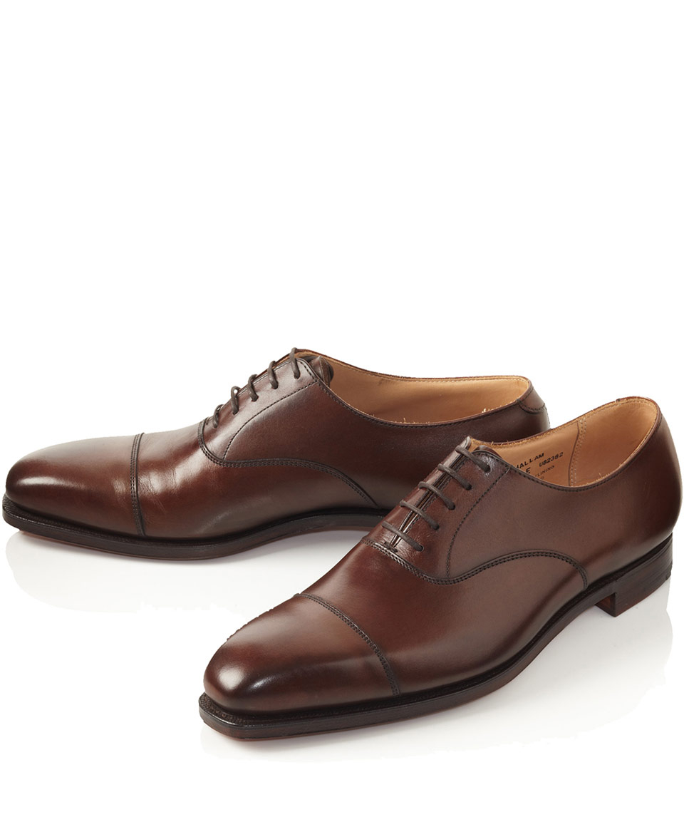 Crockett and jones Brown Hallam Leather Oxford Shoes in ...