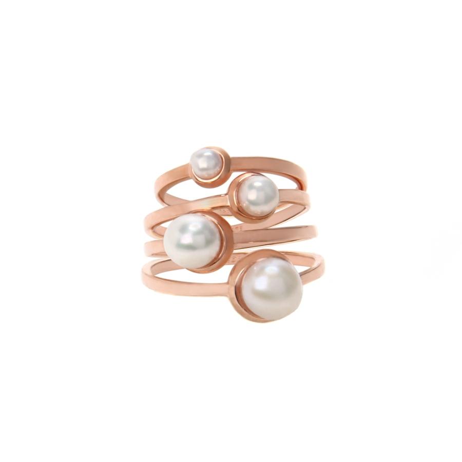 lyst eddie borgo rose gold stackable pearl ring set in pink. Black Bedroom Furniture Sets. Home Design Ideas