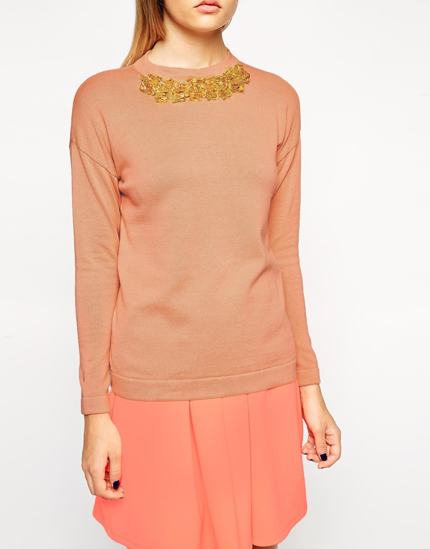 lyst asos jumper with necklace detail in orange