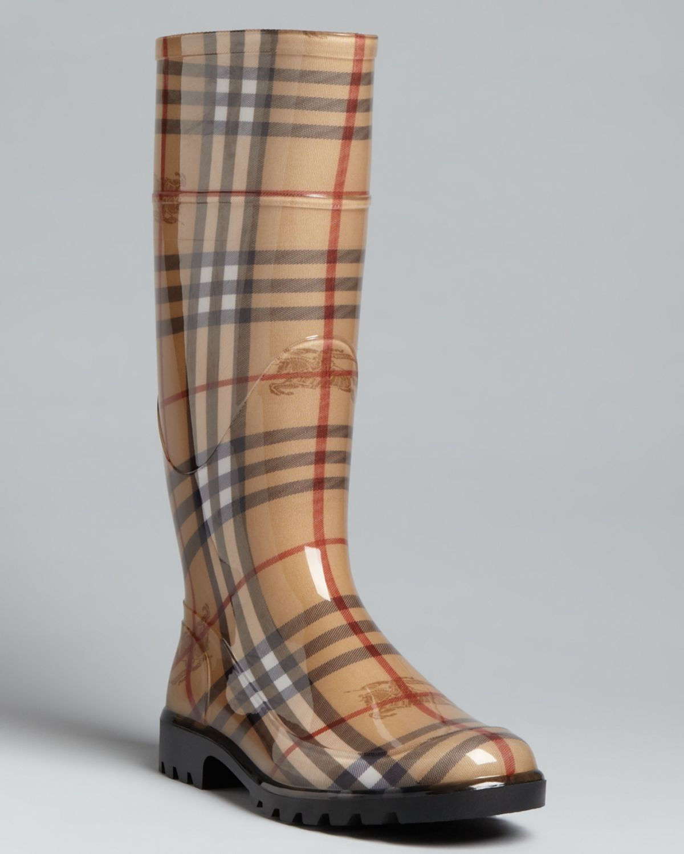 8fc660f7 Burberry Natural Rain Boots Haymarket Check Plaid