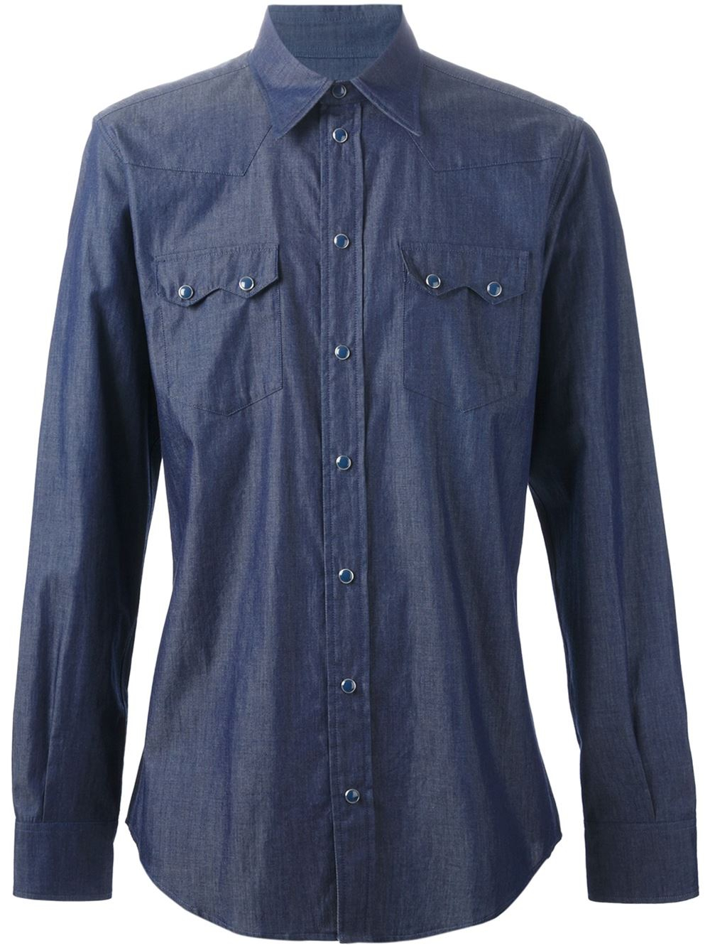 Dolce gabbana western style chambray shirt in blue for for Chambray 7 s