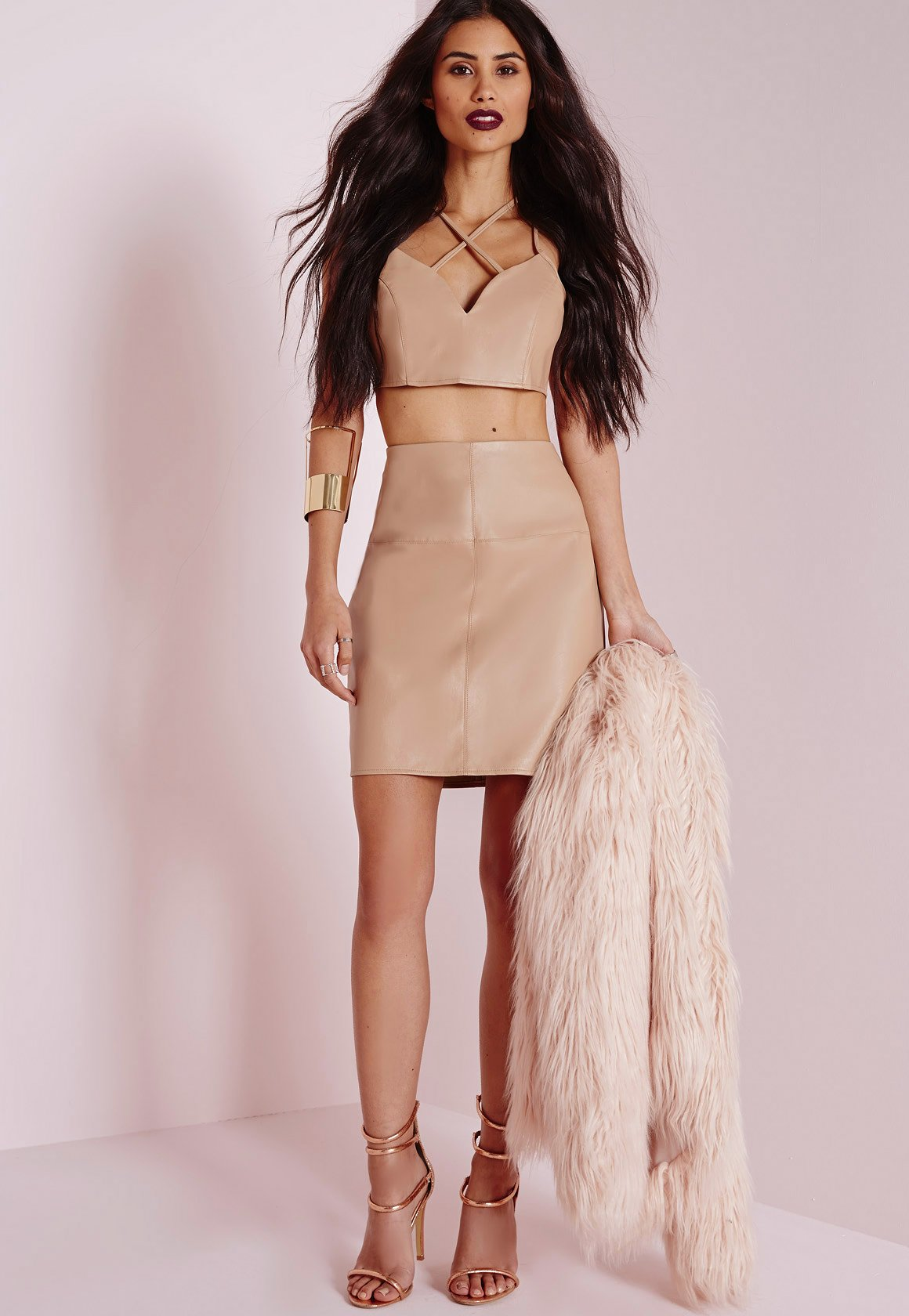 Missguided Faux Leather Mini Skirt Camel in Pink | Lyst