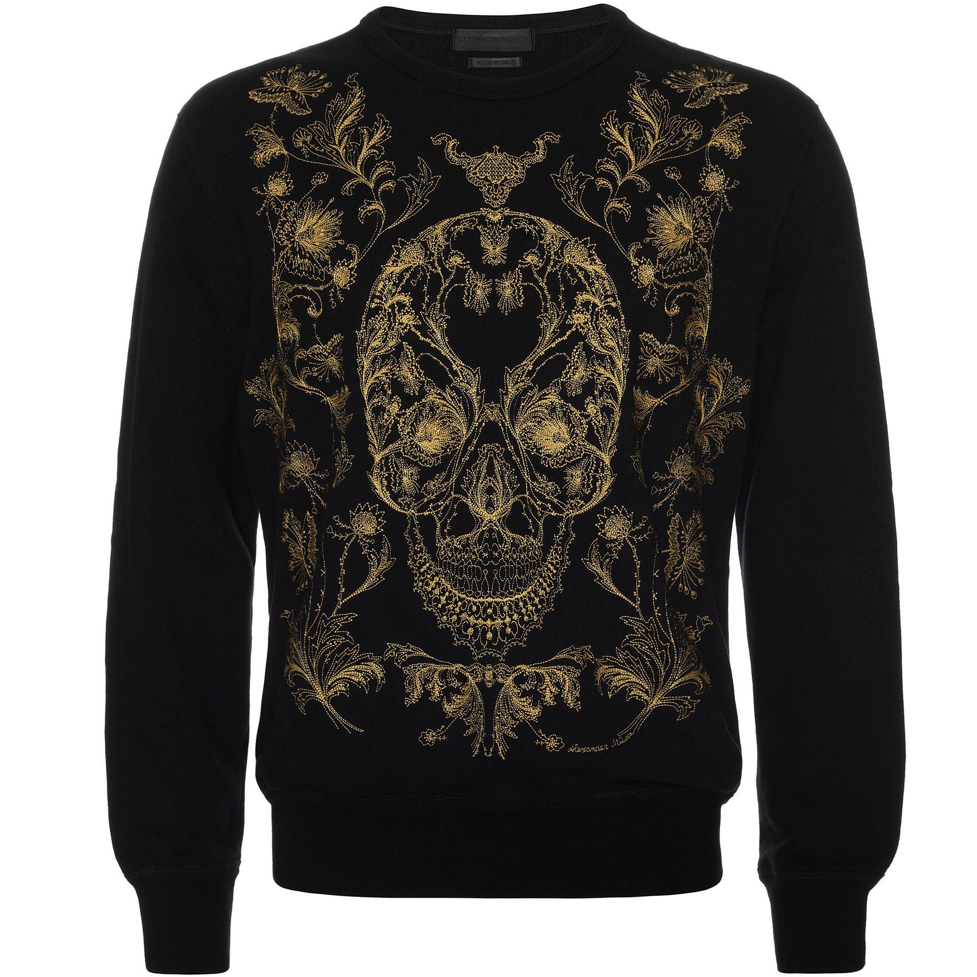 lyst alexander mcqueen floral skull embroidery sweatshirt for men. Black Bedroom Furniture Sets. Home Design Ideas