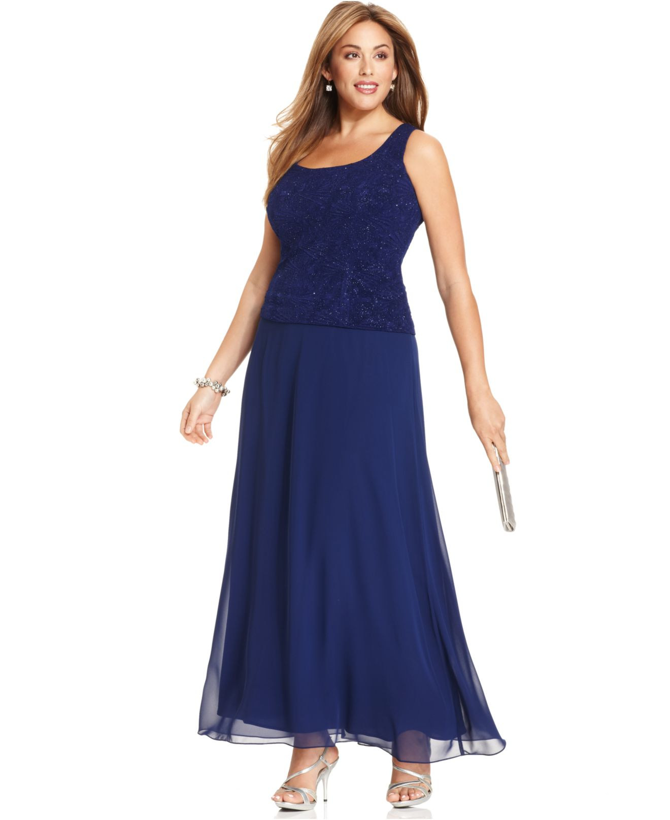 Alex evenings Plus Size Glitter Gown And Jacket in Blue | Lyst