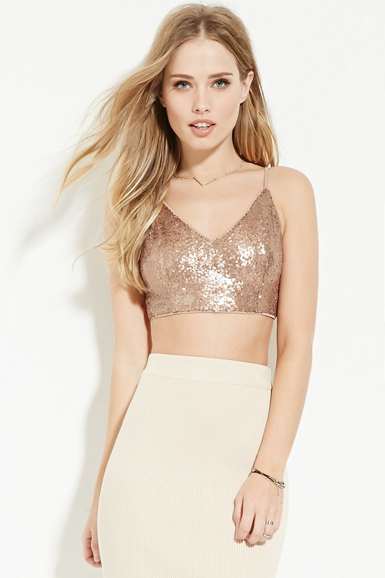 4782da9cc2 Lyst - Forever 21 Sequined Crop Top You ve Been Added To The ...