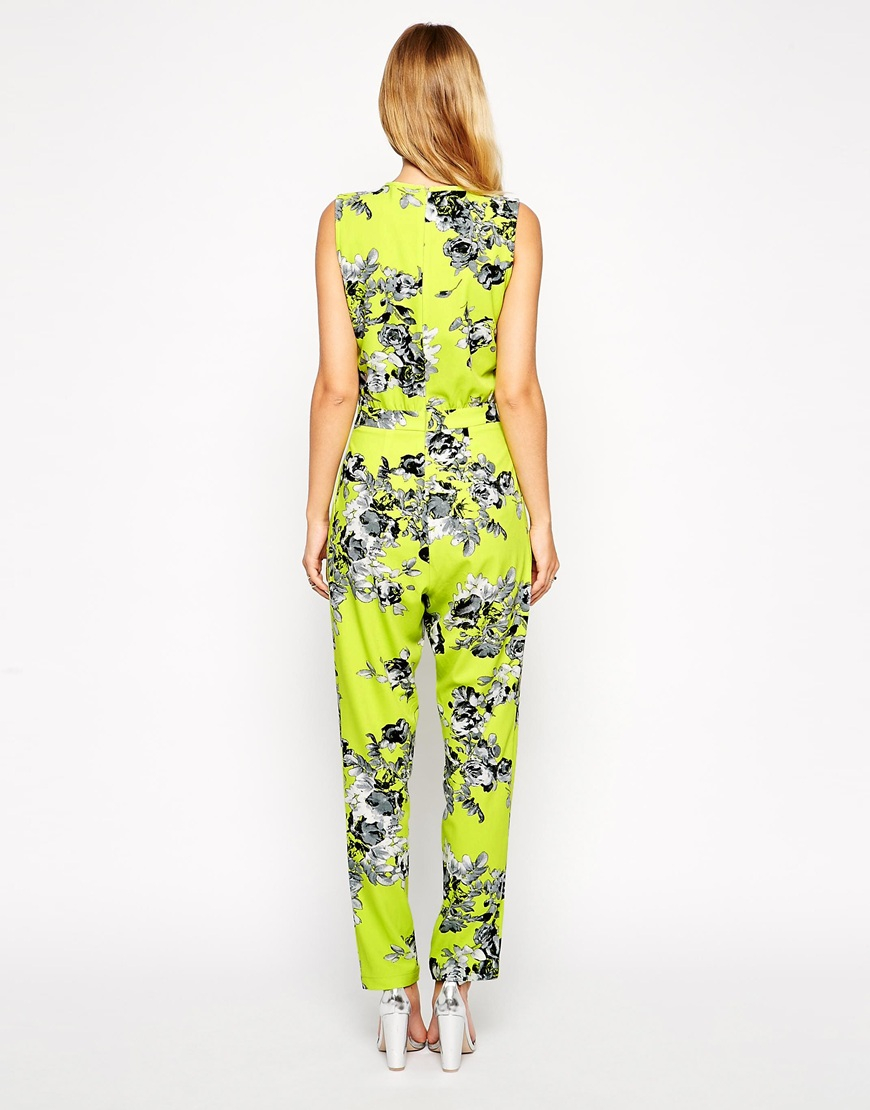 Asos Neon Floral Jumpsuit in Yellow | Lyst