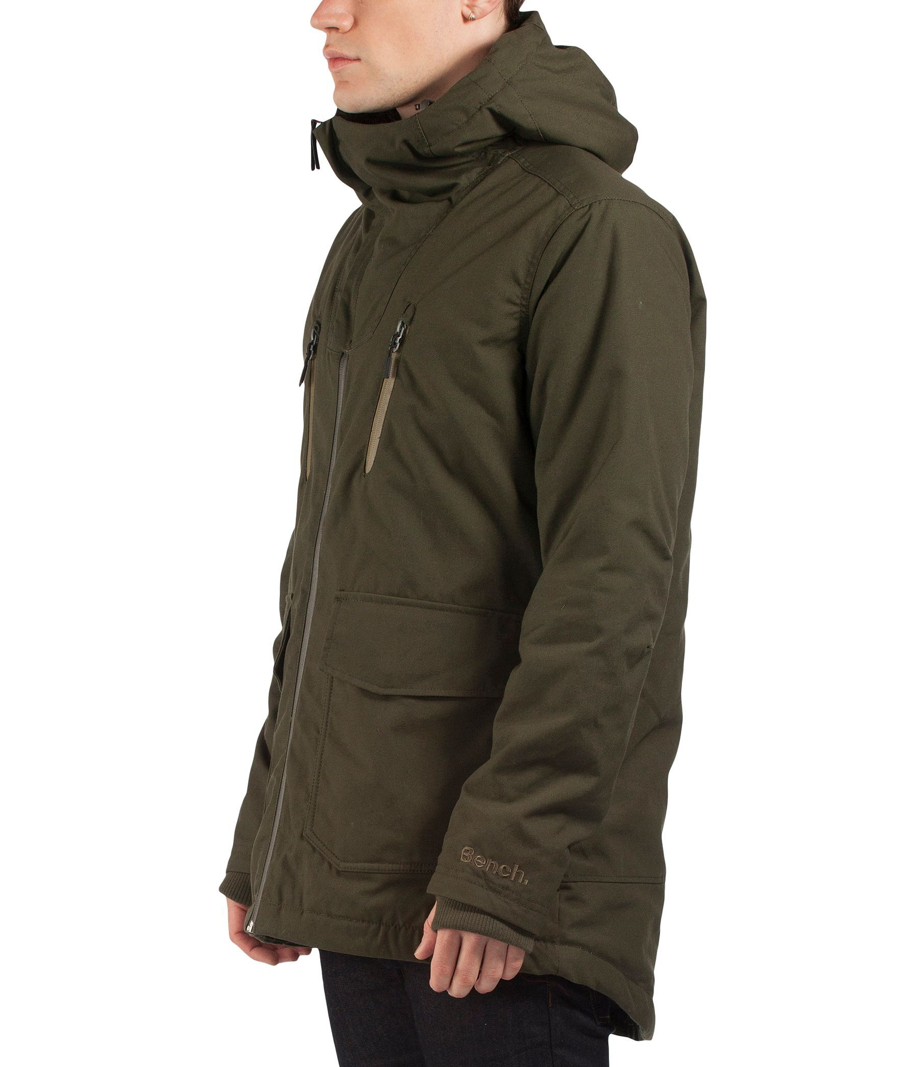 Bench apploud b long zip thru hooded parka jacket in green Bench jacket