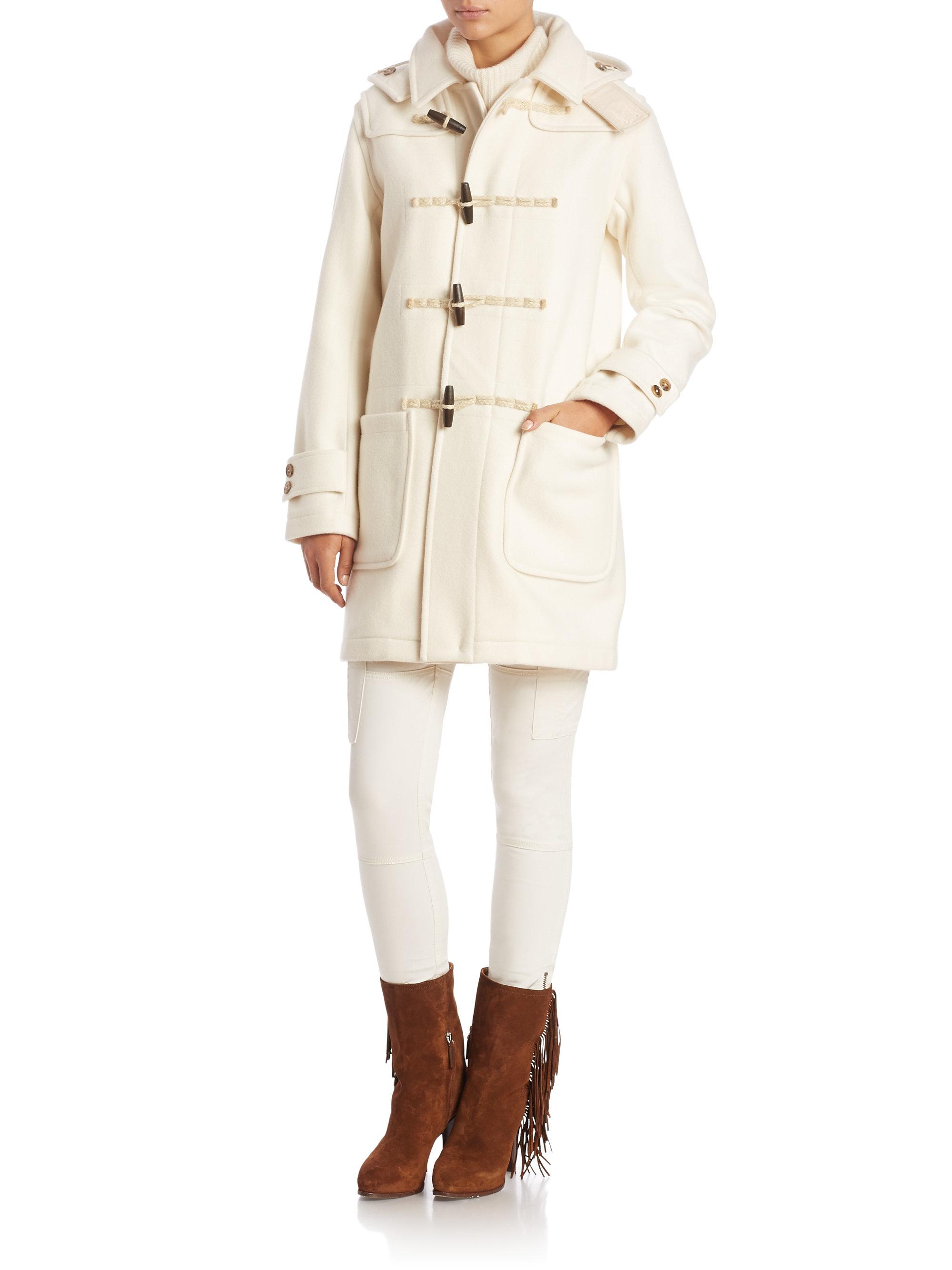 polo ralph lauren hooded wool blend toggle coat in natural. Black Bedroom Furniture Sets. Home Design Ideas