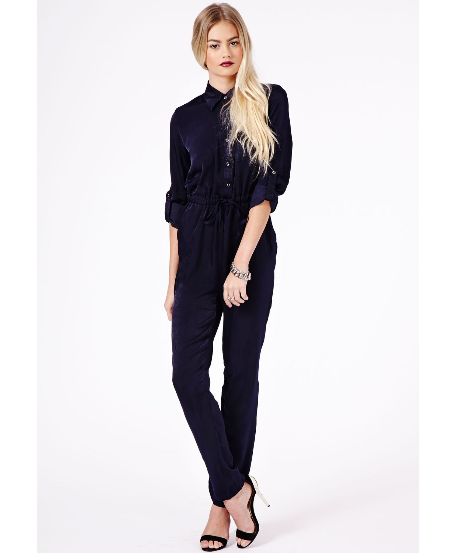 06895ab1d8e3 Missguided Aleida Silk Feel Shirt Jumpsuit in Navy in Blue - Lyst