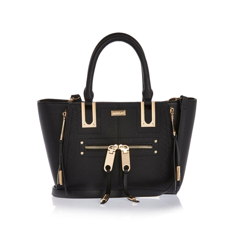 cb0d8c4d970 River Island Black Mini Zip Winged Tote Handbag in Black - Lyst
