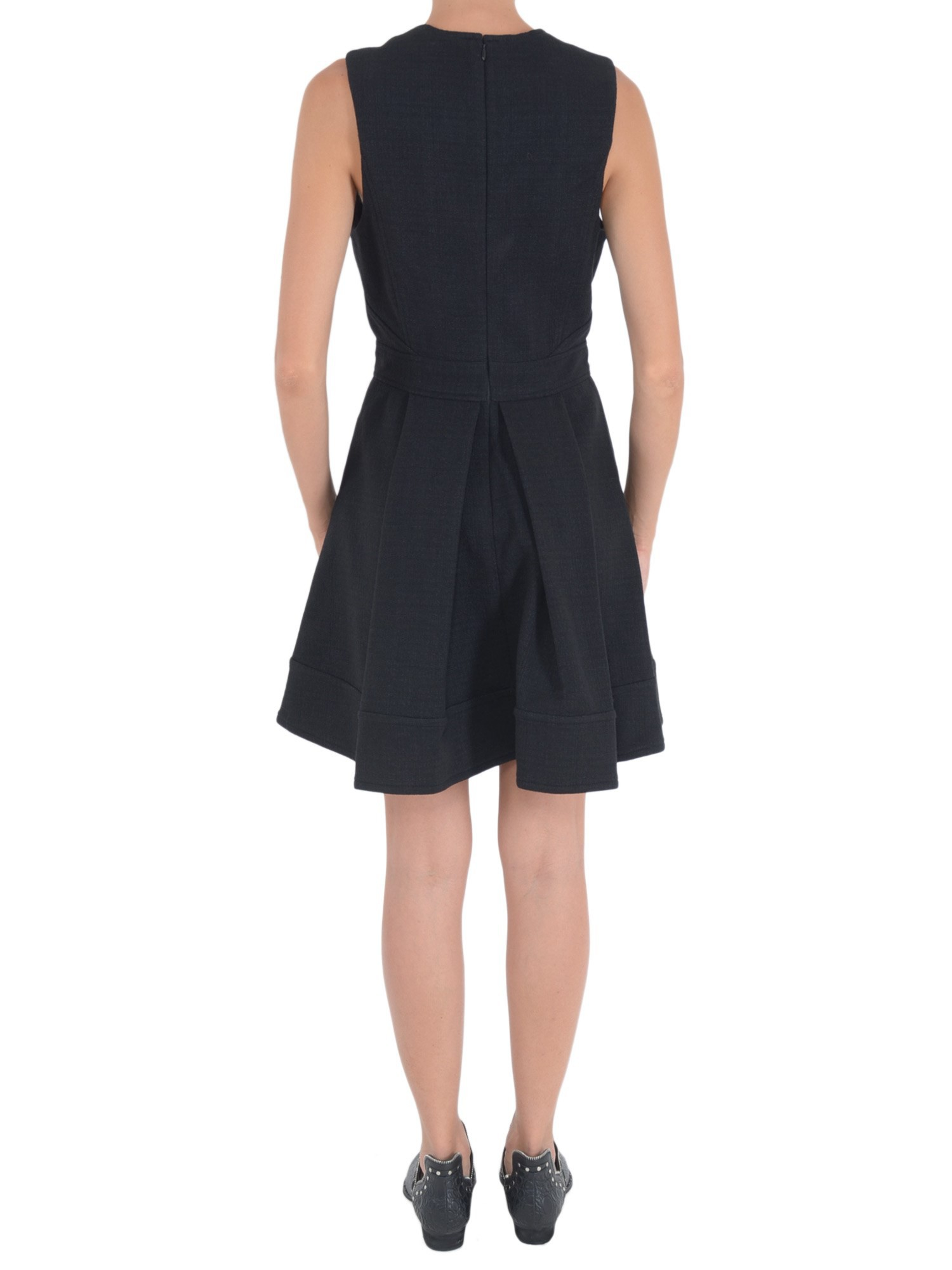 proenza schouler dress with pleated skirt in black nero