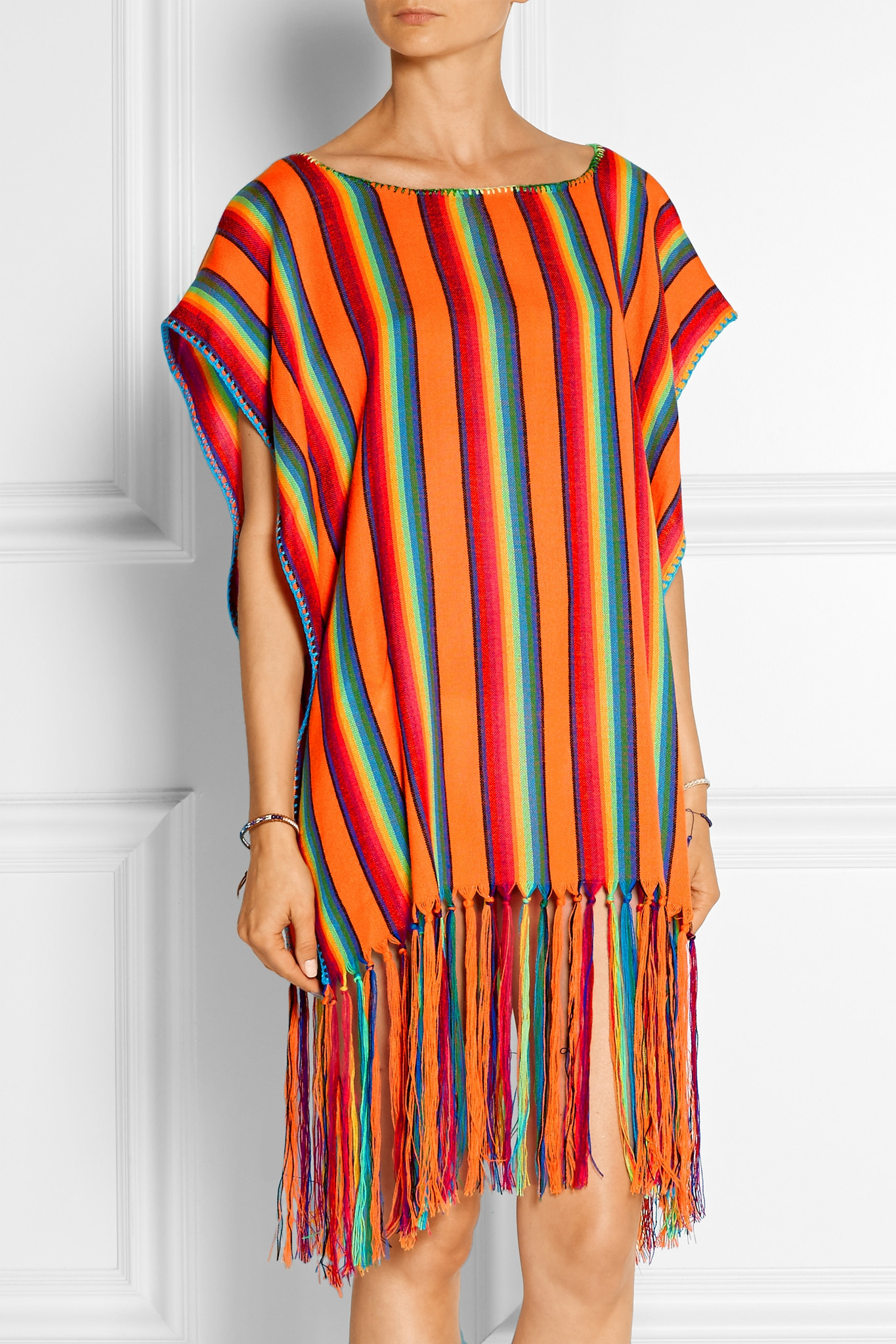 Knitting Pattern Striped Poncho : Miguelina Vega Striped Knitted Poncho in Orange Lyst