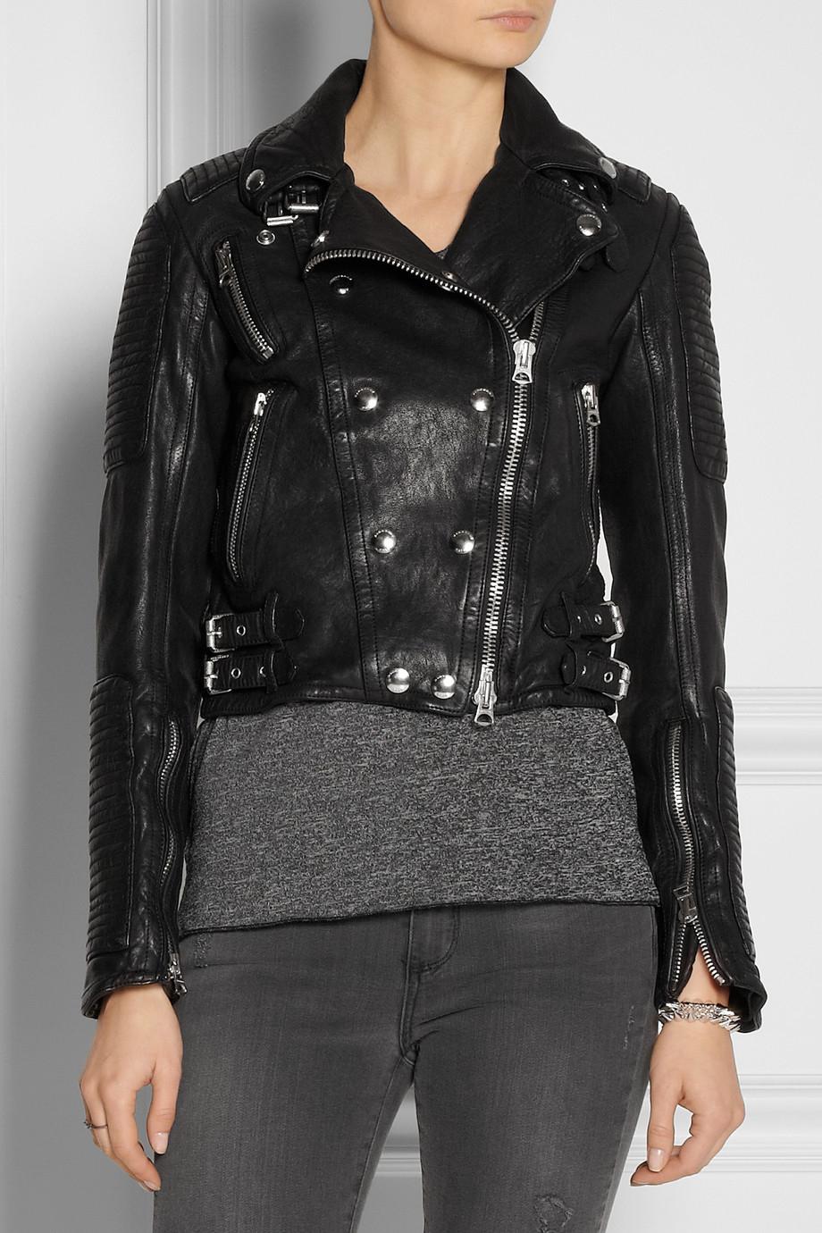 burberry brit cropped leather biker jacket in black lyst. Black Bedroom Furniture Sets. Home Design Ideas