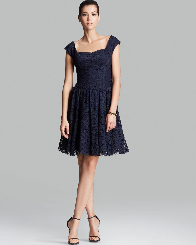 Lyst - Vera Wang Dress Cap Sleeve Lace in Blue