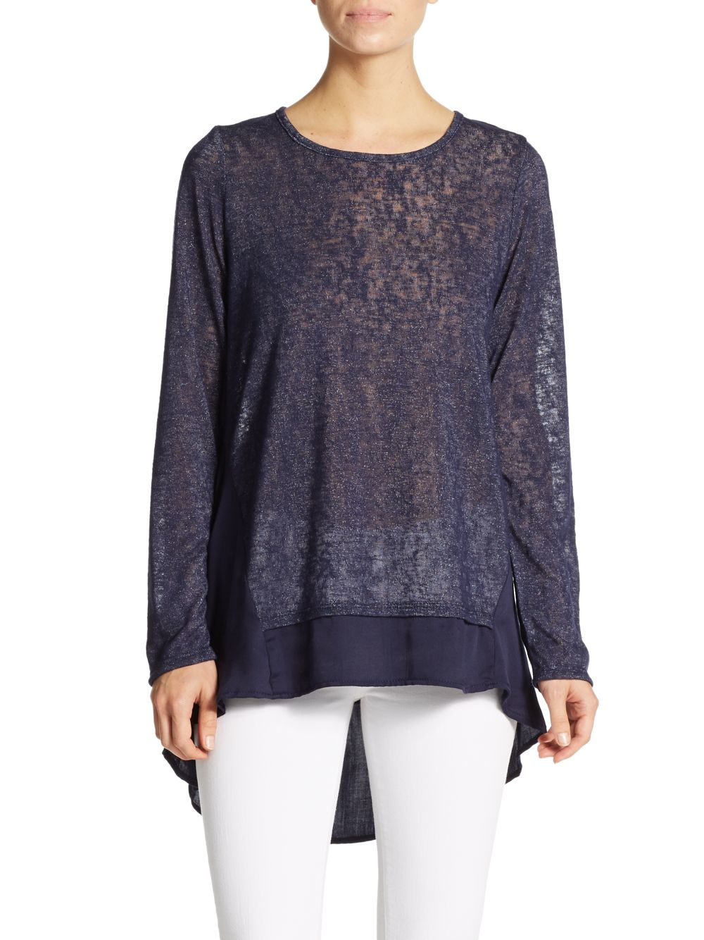 Bobeau Semi-sheer Sweater in Blue | Lyst