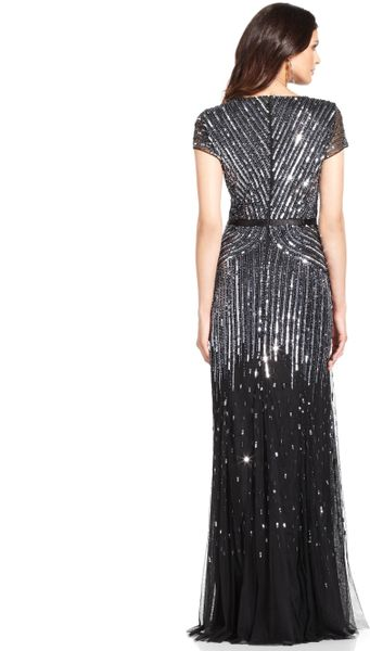 Adrianna Papell Petite Cap Sleeve Beaded Sequined Gown In