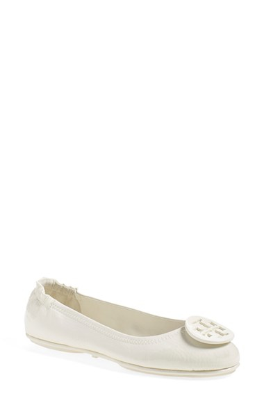 a51cff63e035 ... spain lyst tory burch minnie travel ballet flats in white a777b 51a57