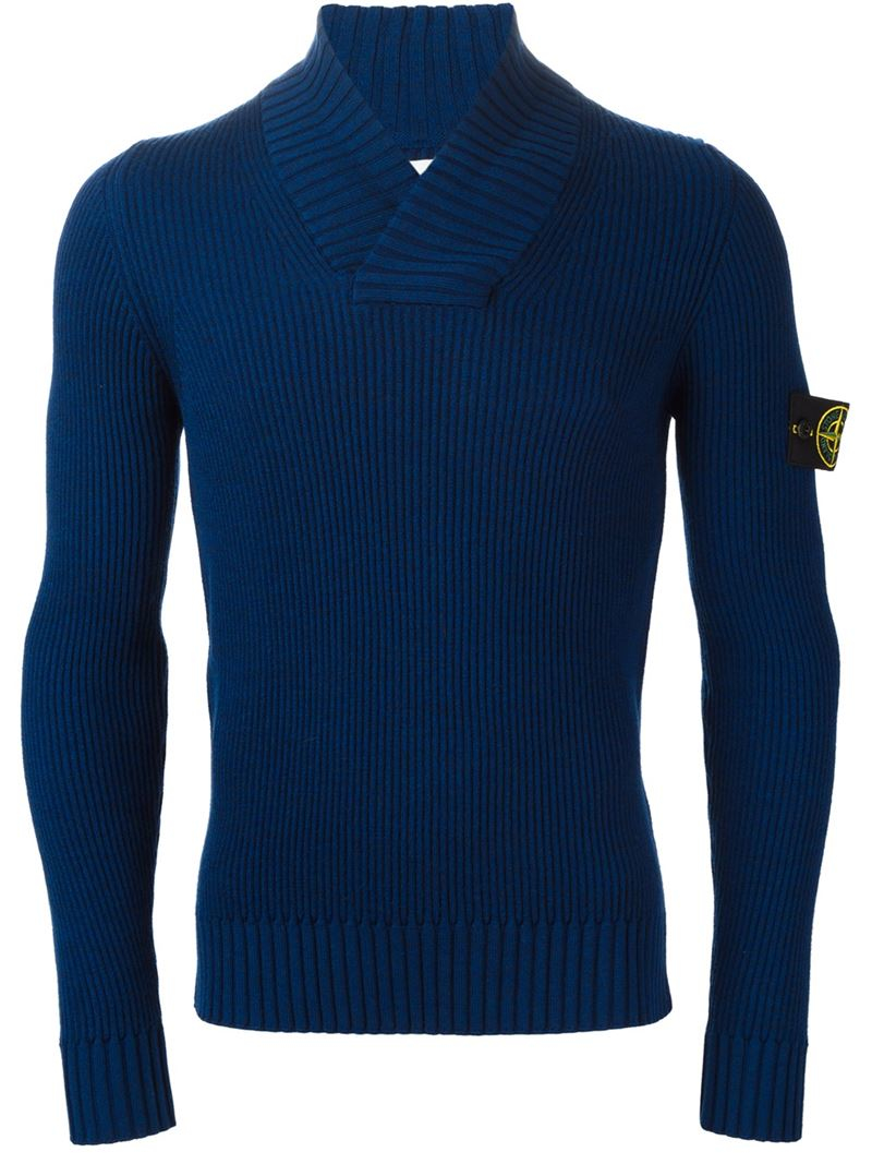 Stone island V Neck Ribbed Sweater in Blue for Men - Lyst