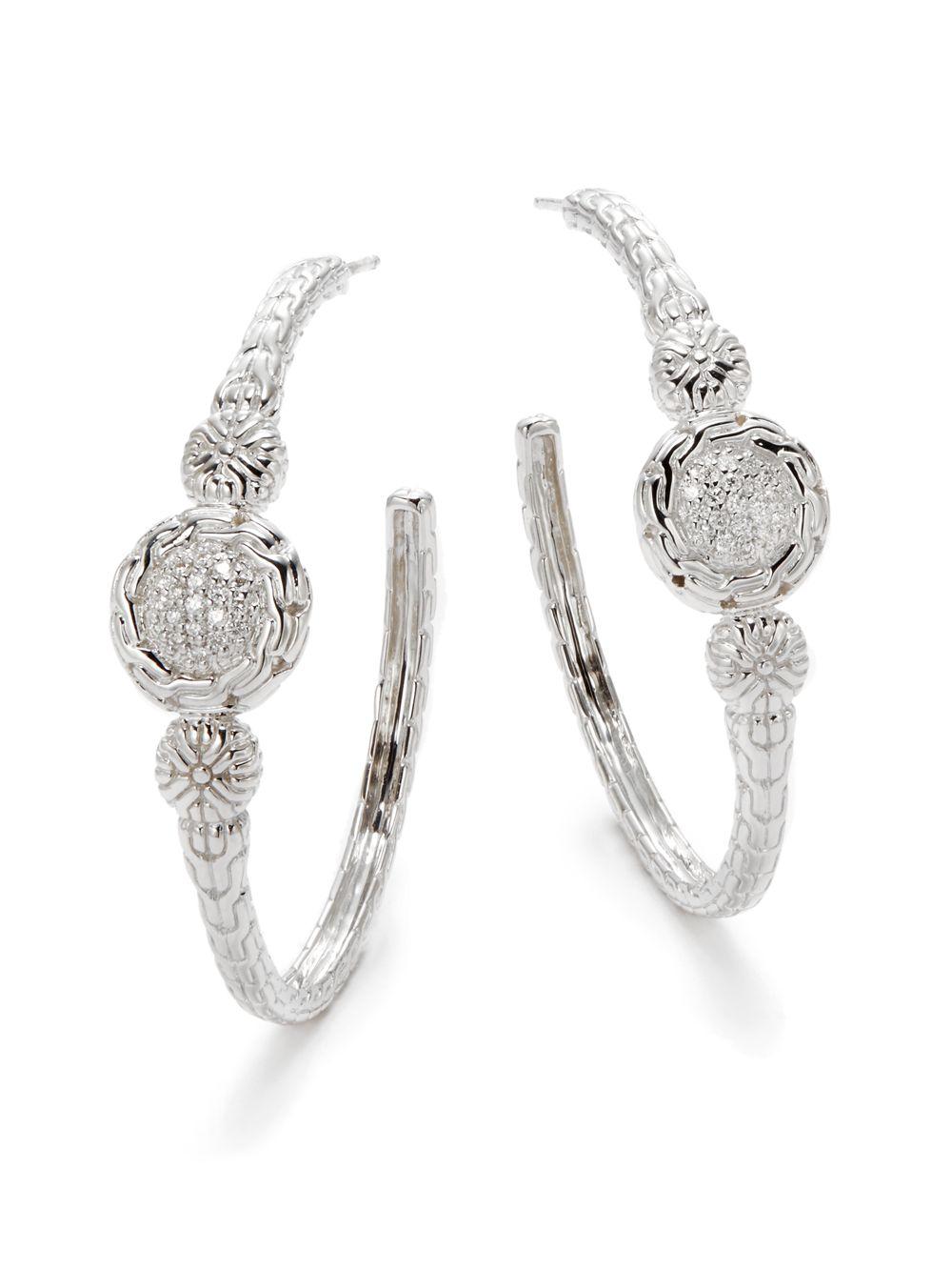 John hardy tcw diamond sterling silver hoop for John hardy jewelry earrings