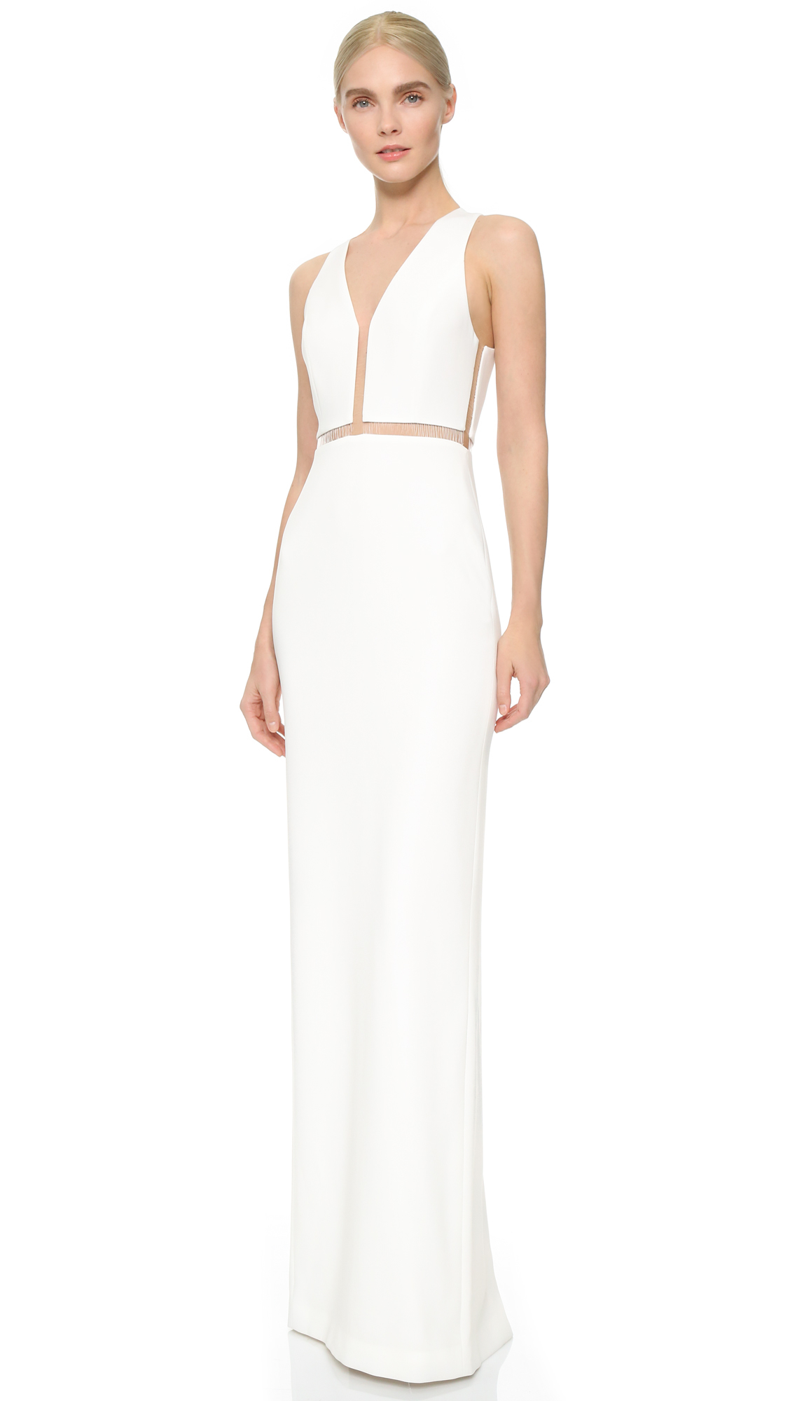 alexander wang v neck gown with fishing line detail in white lyst. Black Bedroom Furniture Sets. Home Design Ideas