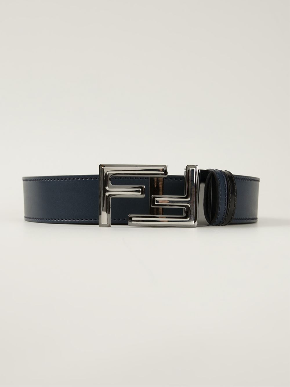 Fendi Ff Logo Buckle Belt in Blue for Men | Lyst