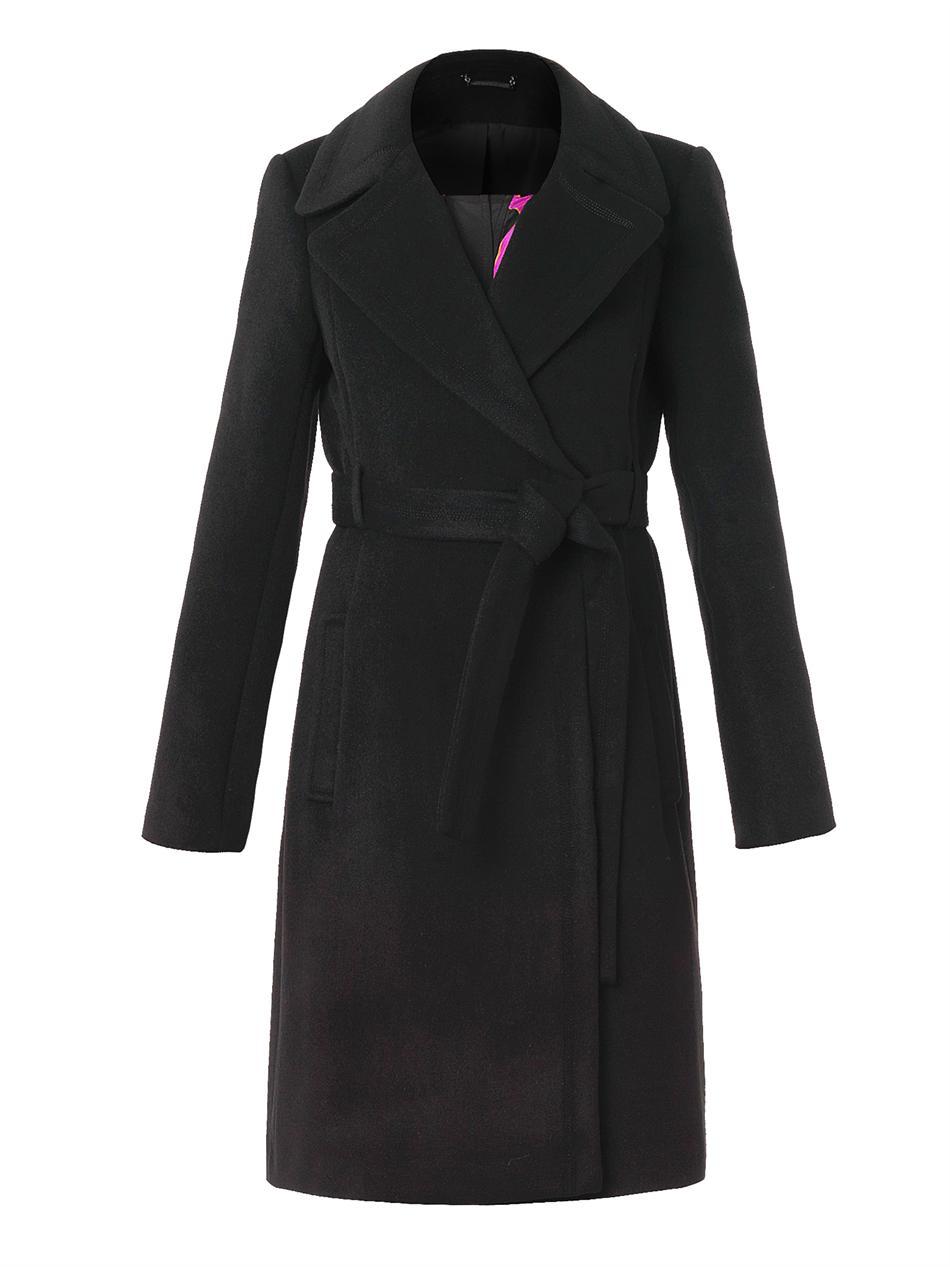 Diane Von Furstenberg Jeannie Wool Blend Coat In Black Lyst