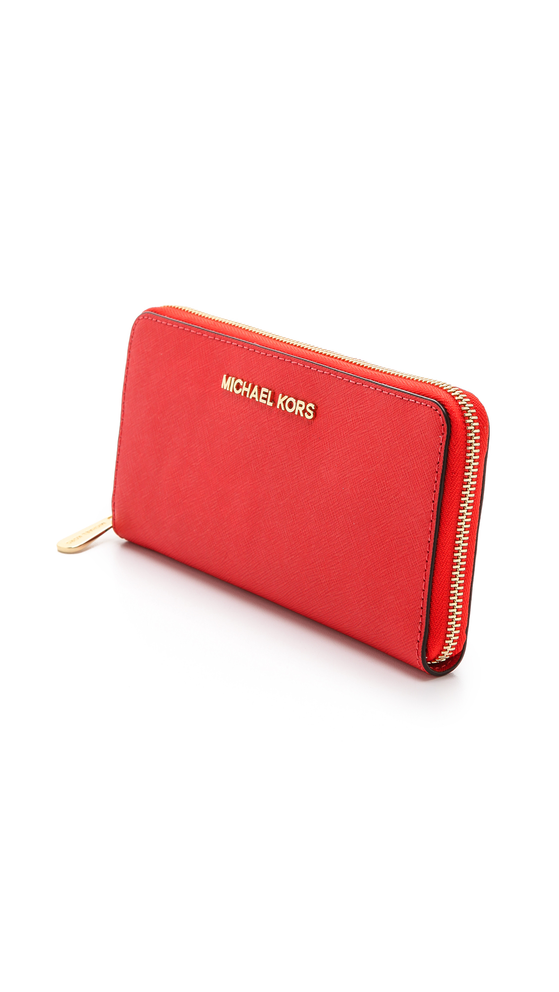 16633f76491 MICHAEL Michael Kors Red Jet Set Zip Around Continental Wallet