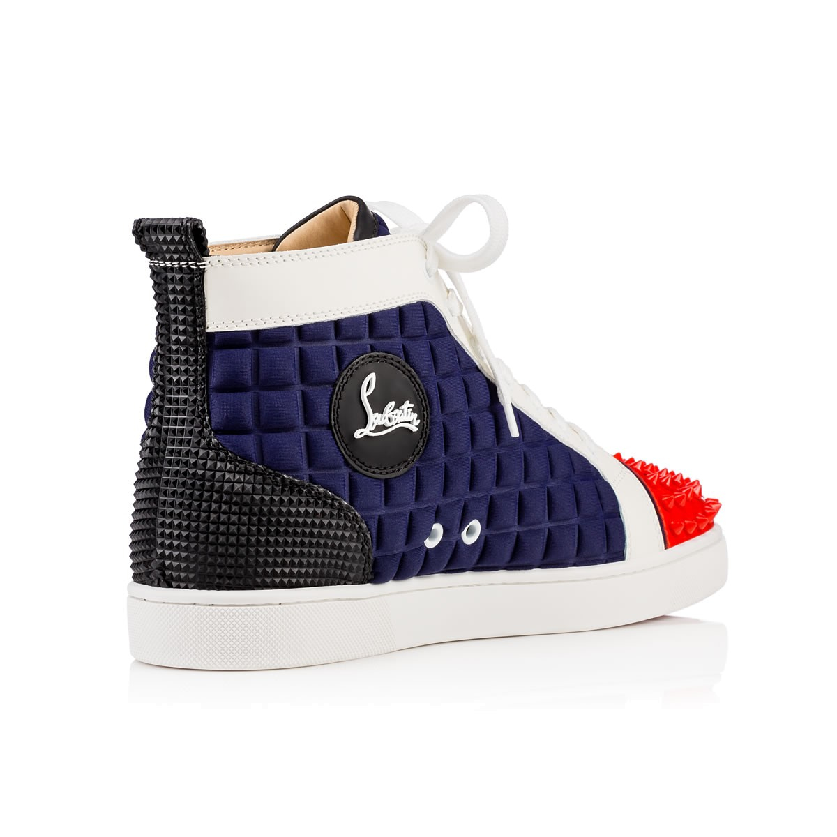 Lyst - Christian Louboutin Lou Spikes Neoprene High-Top Sneakers in Blue  for Men
