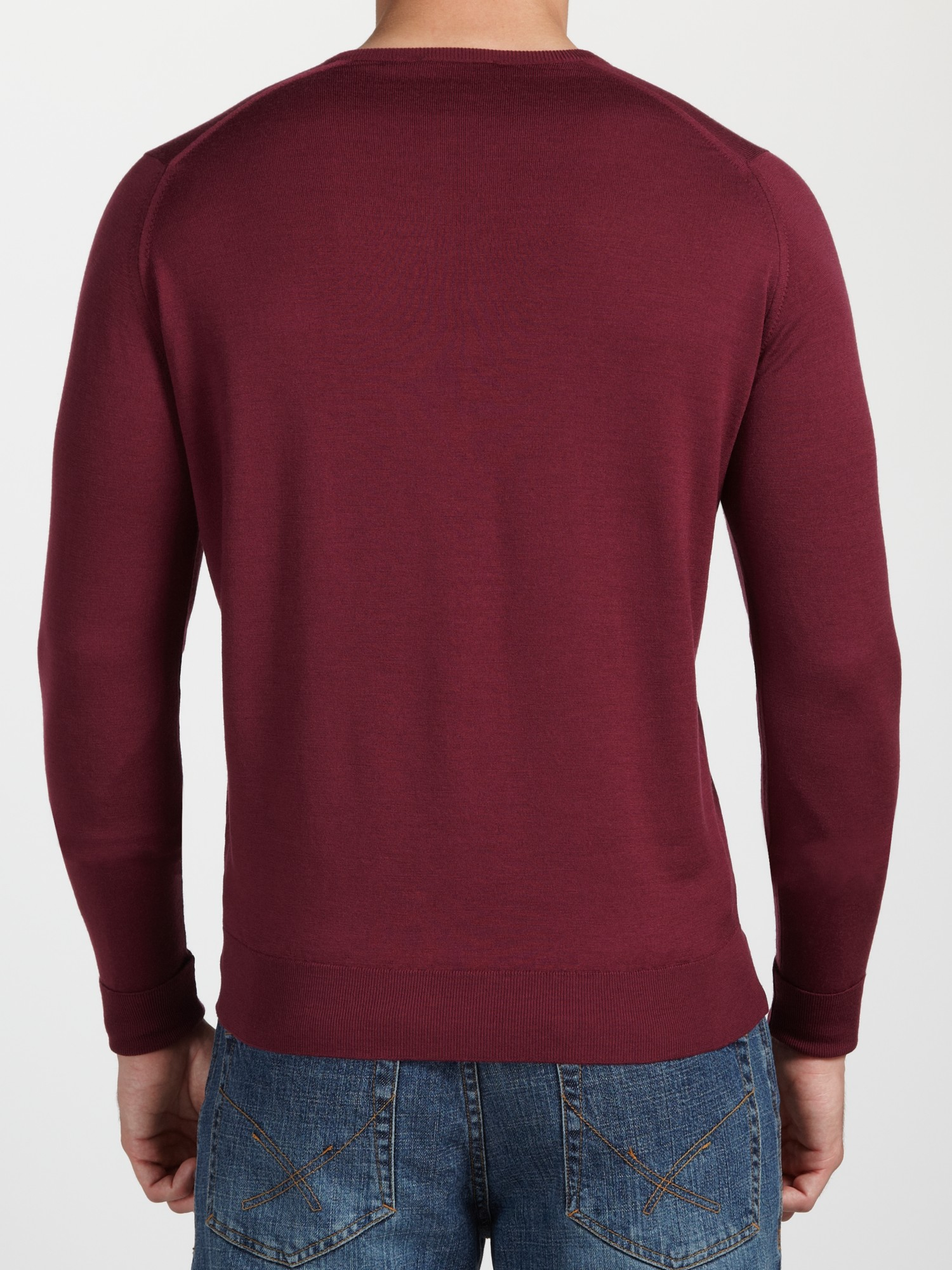 John Smedley Bobby Low Vneck Jumper in Purple for Men