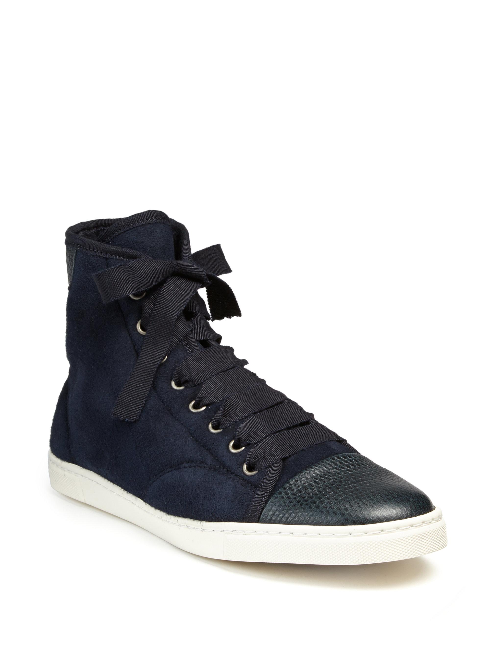 gode tilbud online butik premium valg Snake-embossed Leather & Suede Sneakers