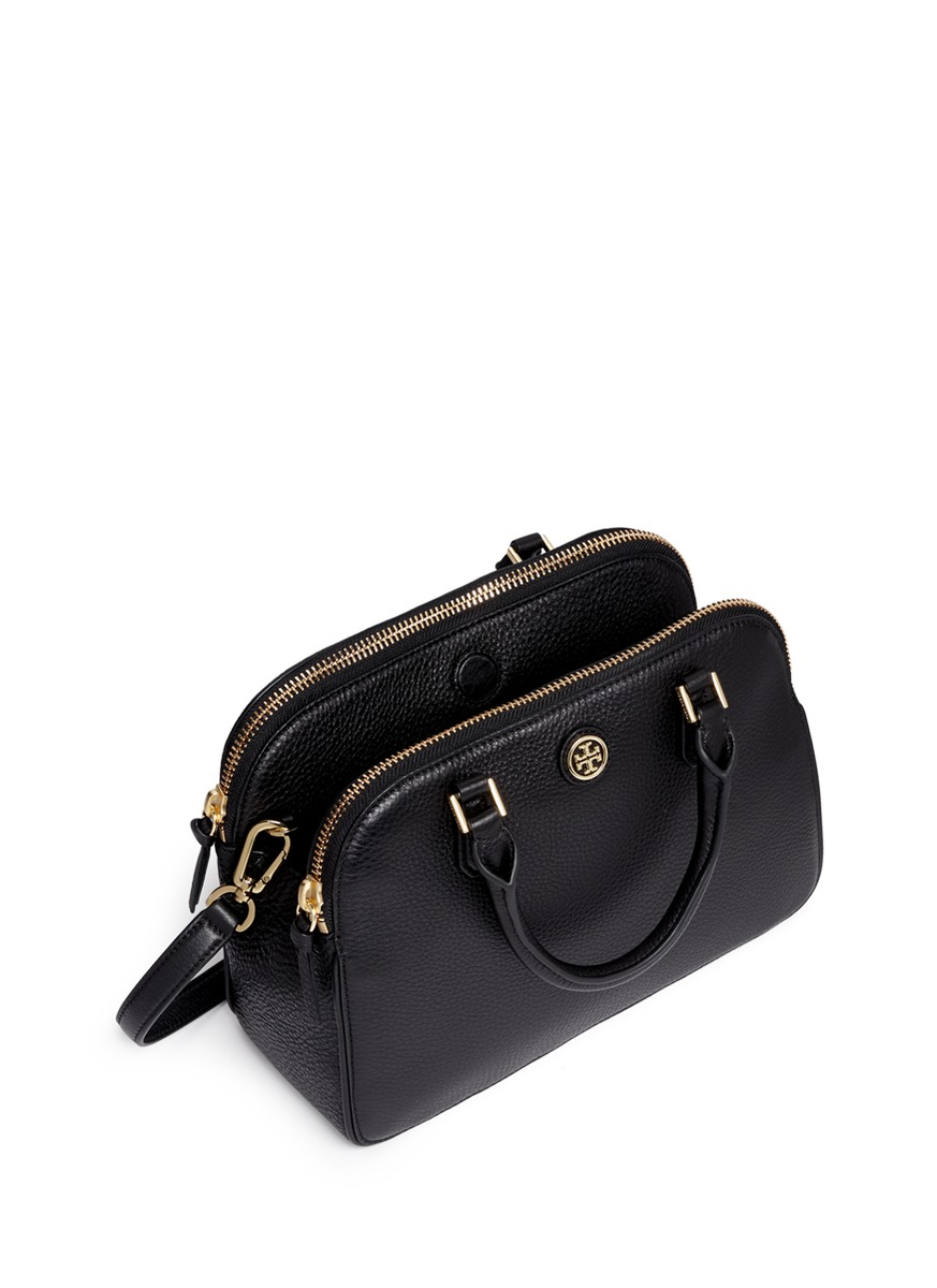 Lyst Tory Burch Robinson Small Double Zip Pebbled