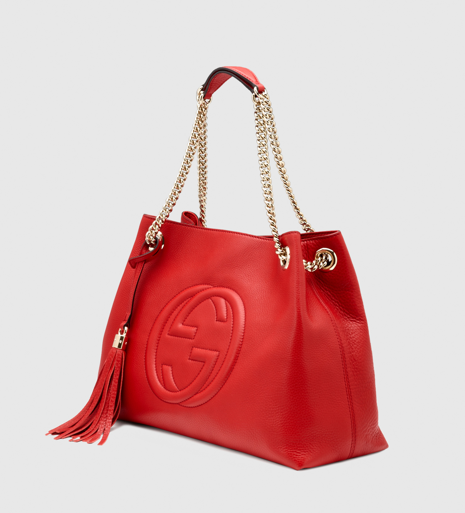 c005ae16f1377 Gucci Soho Leather Shoulder Bag in Red - Lyst
