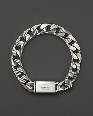 Gucci Mens Trademark Stripes Link Bracelet 8 In Metallic