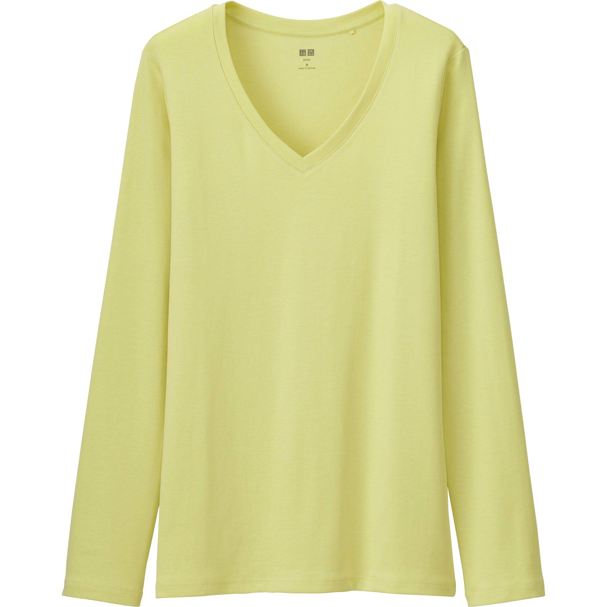 Uniqlo Women Supima Cotton V Neck Long Sleeve T Shirt In