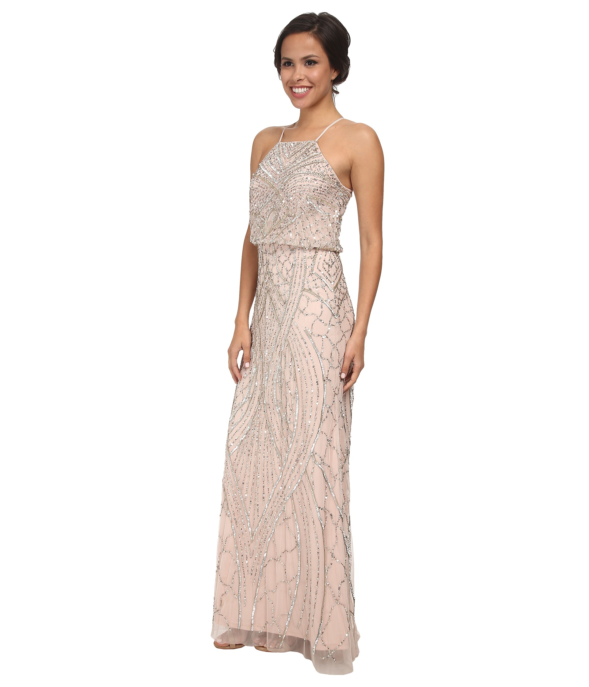 a1ca369230f7 Adrianna Papell Halter Fully Beaded Gown in Pink - Lyst
