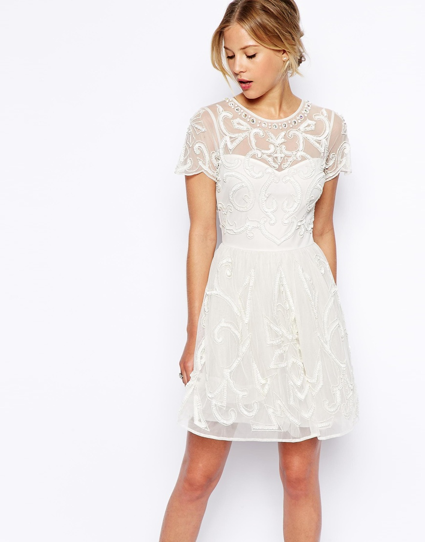 Asos Pretty Gothic Embellished Skater Dress in Beige (Cream) | Lyst