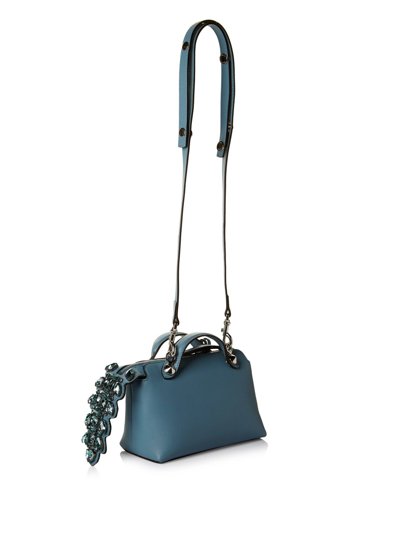 7011edbe9d Lyst - Fendi By The Way Mini Crystal-tail Cross-body Bag in Blue