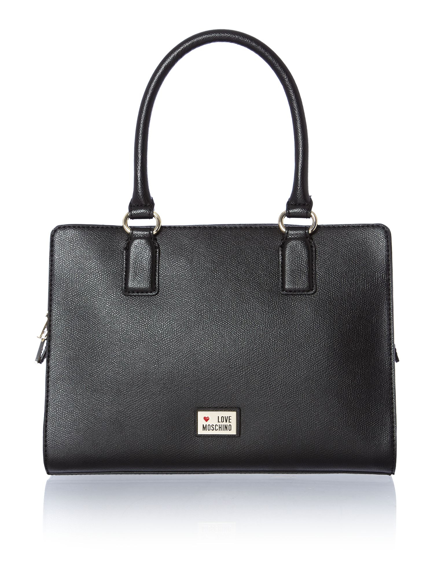 Love Moschino Black Small Saffiano Tote Bag