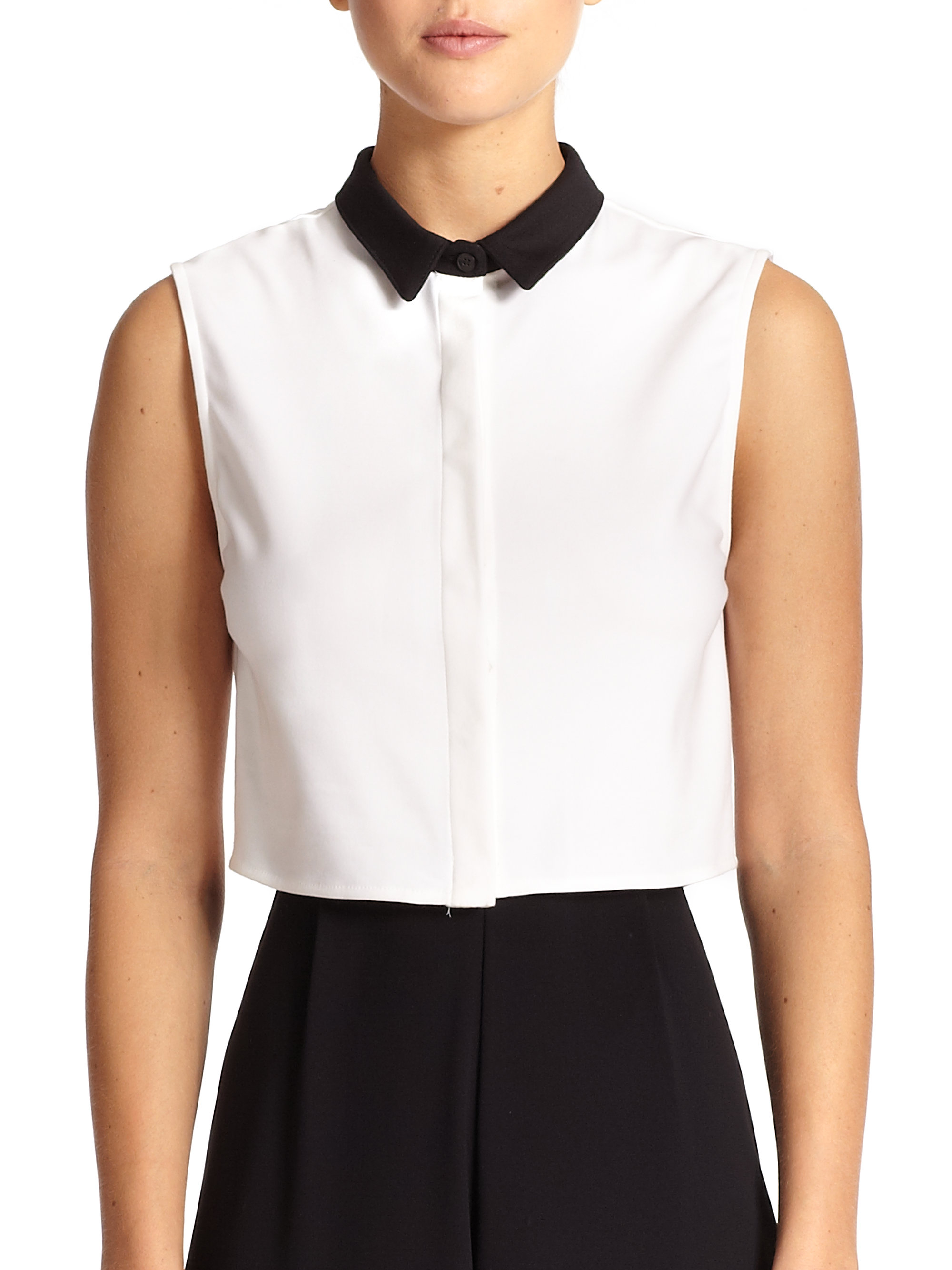 Alice   olivia Cropped Sleeveless Button-Down Shirt in White | Lyst